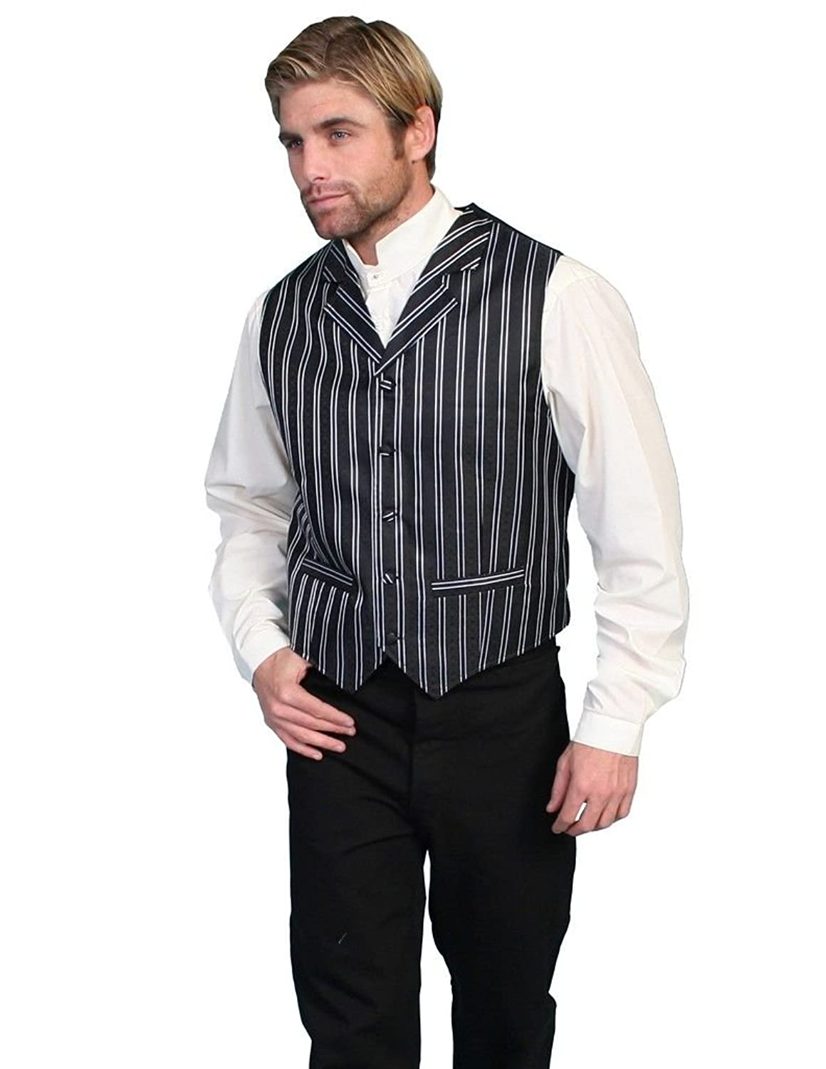 1920s Style Mens Vests Rangewear By Scully Mens Rangewear Double Pinstripe Vest Big And Tall - Rw169x Blk $55.05 AT vintagedancer.com