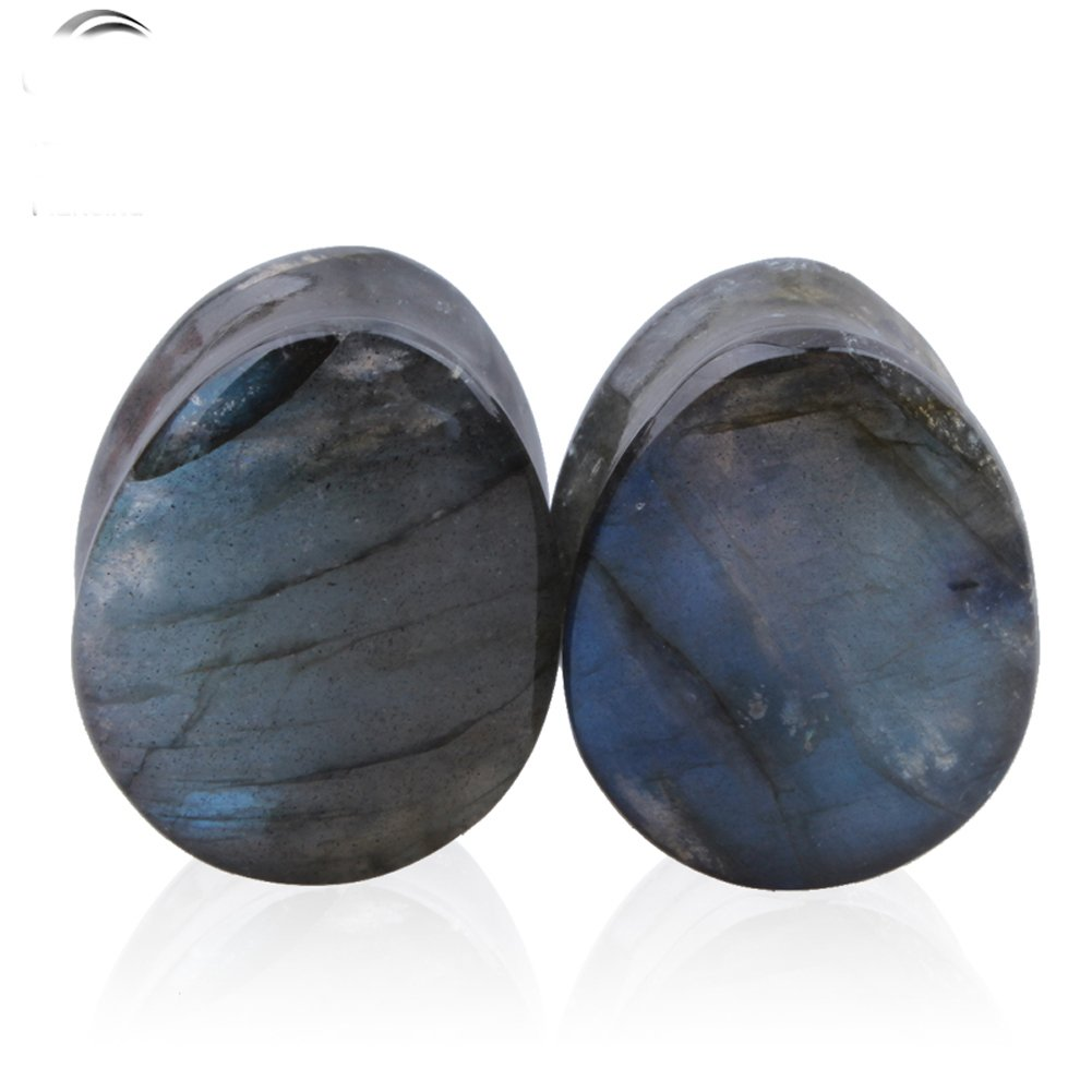 TOPBRIGHT Natural Flash Labradorite Stone Teardrop Plugs Earring Gauges Organic Flesh Ear Tunnels Expander CY1651-10mm