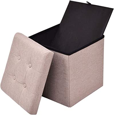 Lucidz Seat Stool Ottoman Folding Storage Cube Box Footrest Furniture Home Decor Beige