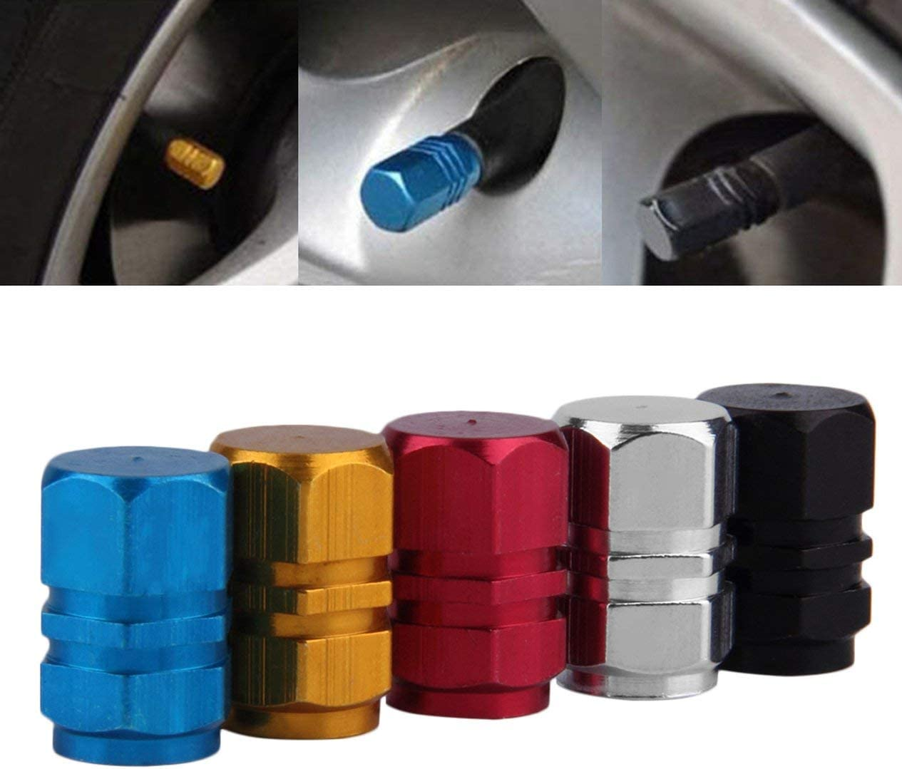 Auto Car Aluminum Tire Wheel Rim Stem Air Valve Caps Truck Bike Tyre Cover 4Pcs