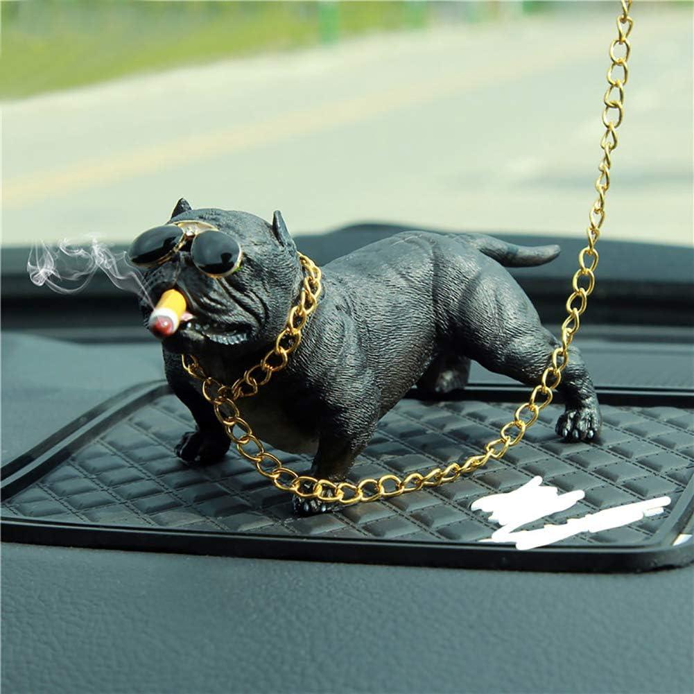 ExhilaraZ Mini Cool Cartoon American Bully Dog Resin Car Dashboard Interior Ornament Home Desk Decor Brown