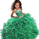 WZY Big Girls Beaded Long Ruffled Party Ball Gown Girls Pageant Dresses 14 US Green