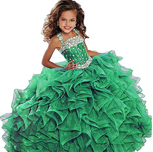 WZY Big Girls Beaded Long Ruffled Party Ball Gown Girls Pageant Dresses 14 US Green by WZY