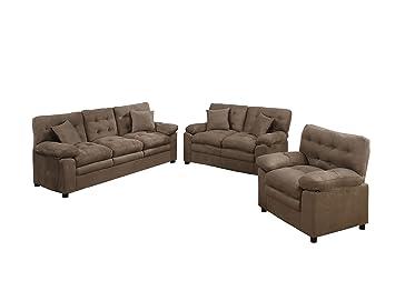 Poundex F7910 Bobkona Medora Mircosuede 3 Piece Sofa and Loveseat with Chair Set, Dark Brown