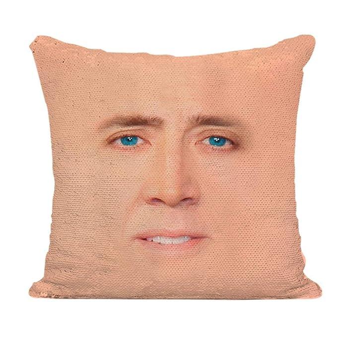 Almohada de lentejuelas reversible Nicolas Cage