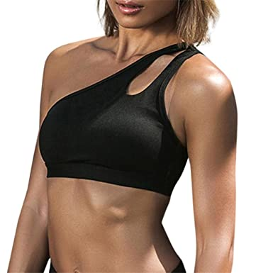 4fa45303e771d Mitlfuny Women One Shoulder Creative Design Gym Running Workout Tank Top  T-Shirt Sport Bra Clothes Fitness Yoga Vests Crop Tops  Amazon.co.uk   Clothing