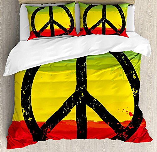 4 Piece King Size Duvet Cover Set,Rasta Grunge Watercolor African Flag Colors Hippie Peace Sign,Bedding Set Luxury Bedspread(Flat Sheet Quilt and 2 Pillow Cases for Kids/Adults/Teens/Childrens -