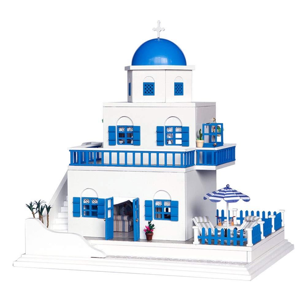Evav Puppenhaus Miniatur DIY Haus Kit, Hand zusammengebaute pädagogische Spielzeug Gebäude Modell Geburtstagsgeschenk - romantische Santorini