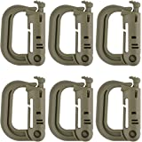 BCP Pack of 6pcs Grimloc Locking D-Ring for MOLLE Systems and Equipment
