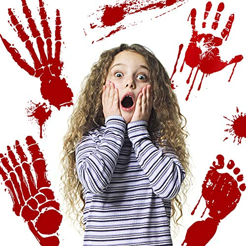 6 Sheets Halloween Bloody Handprint and Footprint Stickers Window Decals Floor Clings for Halloween Vampire Zombie Decorations Horror Decor