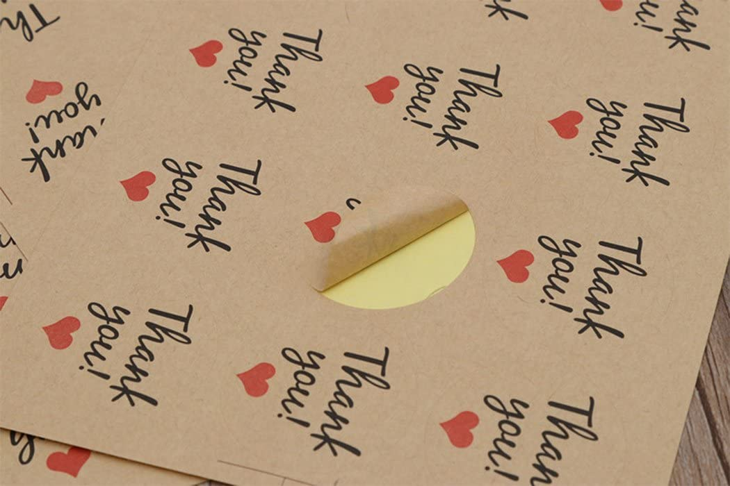Natural Paper Kraft set of 240 Hillento 20 Sheets Round-Shaped Thank You Sticker Craft Paper Thank You Label Adhesive Labels Bow Tie Decorative Sealing Stickers