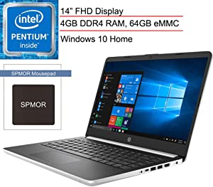 "(Renewed) HP 14 14"" FHD Laptop Computer for Business or Student, Intel Quad-Core Pentium Silver N5000 up to 2.7GHz, 4GB DDR4 RAM, 64GB eMMC, ac WiFi, USB 3.1, Silver, Windows 10, SPMOR Mouse Pad"