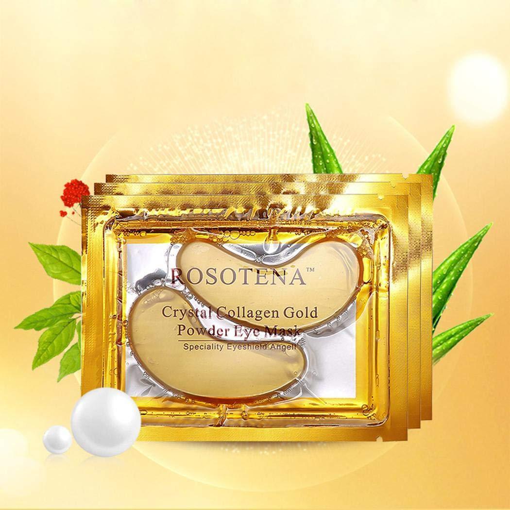 Minlop Gold-Pulver-Gel-Kollagen-Augenmaske, Kollagen Augenpads - Die Feuchtigkeit spendende Anti Falten Augenmaske gegen Augenringe & Fältchen Anti Aging (10 Paar)
