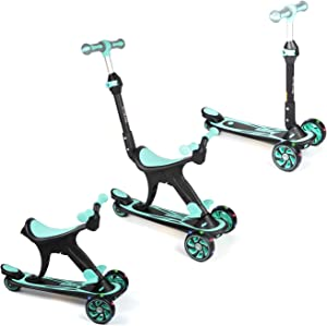 Forc Kick Scooter for Kids, 3 in 1 Scooters Toddlers for Kids, Three Wheels with Extra Wide PU Light-Up,  Adjustable Height W/Extra-Wide Deck and Back Wheel Brake, Kids Scooter & Toddler Scooter for Ages 1-14 Years Old Boys and Girls