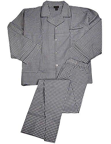 Botony 500 - Mens Big and Tall Long Sleeve Broadcloth Plaid Pajama, Navy, Light Blue ()