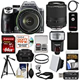 Pentax K-70 All Weather Wi-Fi Digital SLR Camera & 18-135mm WR Lens (Silver) 55-300mm Lens + 64GB Card + Case + Flash + Battery + Tripod + Kit