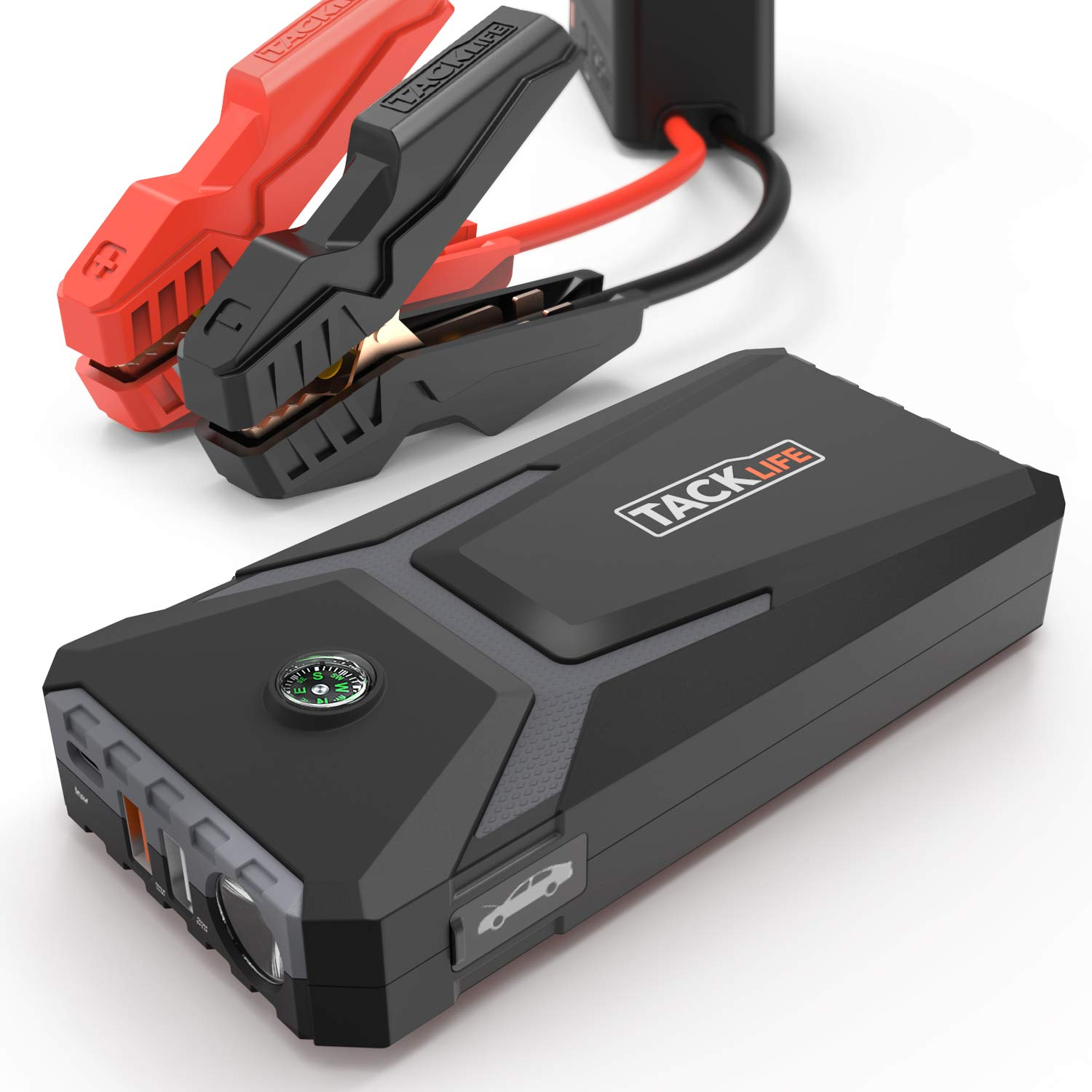 TACKLIFE T8 MIX Car Jump Starter - 400A Peak Current, 12V Auto Battery Booster, 12000mAh Power Pack with Type-C Input, Dual Charging Ports and Compass