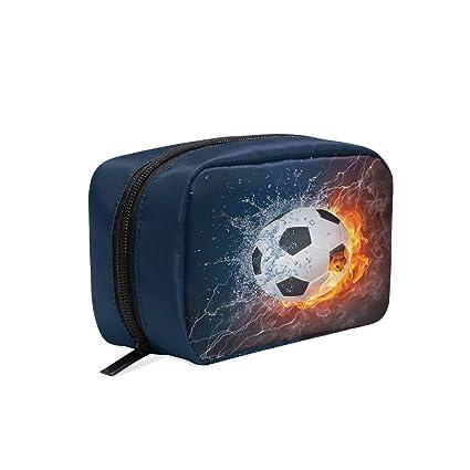 Bolsa de maquillaje de balón de fútbol en fuego y agua, bolsa de ...
