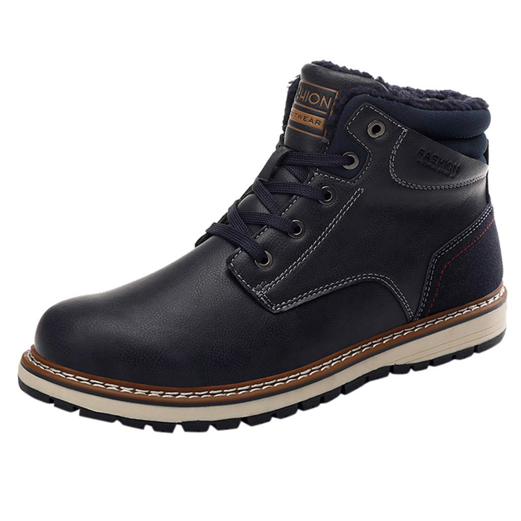 Men Leather Snow Boots Casual Fashion Non-Slip Outdoor Warm Sneaker Hiking Shoes (US:12, Dark Blue) by Suoxo Men Shoes