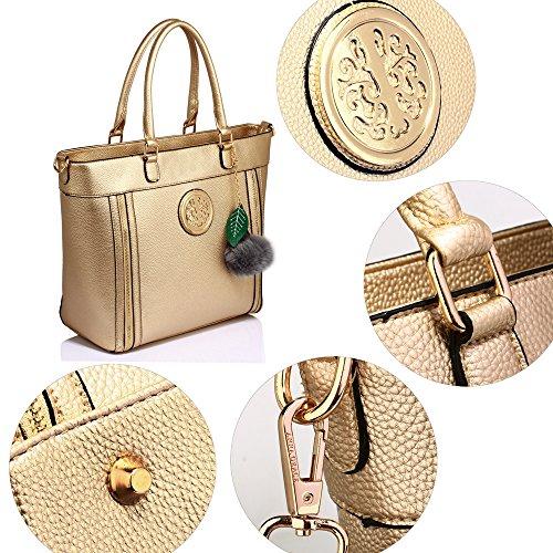 ANNA GRACE - Bolso de tela de piel sintética para mujer Design 1 : Gold