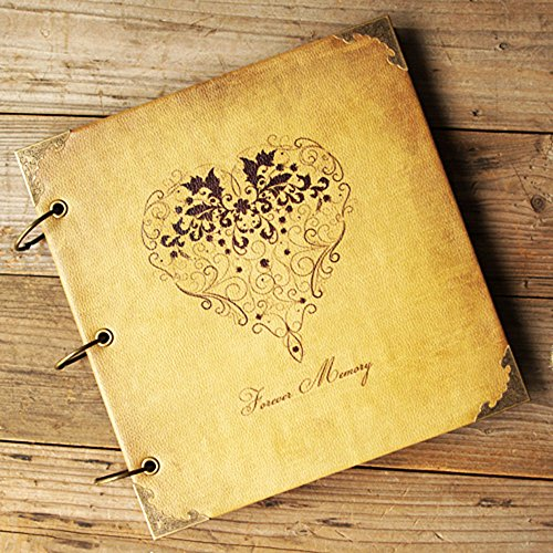 "ToiM New DIY Album Wedding Scrapbook Vintage Photo Album Leatherette Cover DIY Retro and Elegant Handmade Album Self-paste Album (""Forever Memory"")"