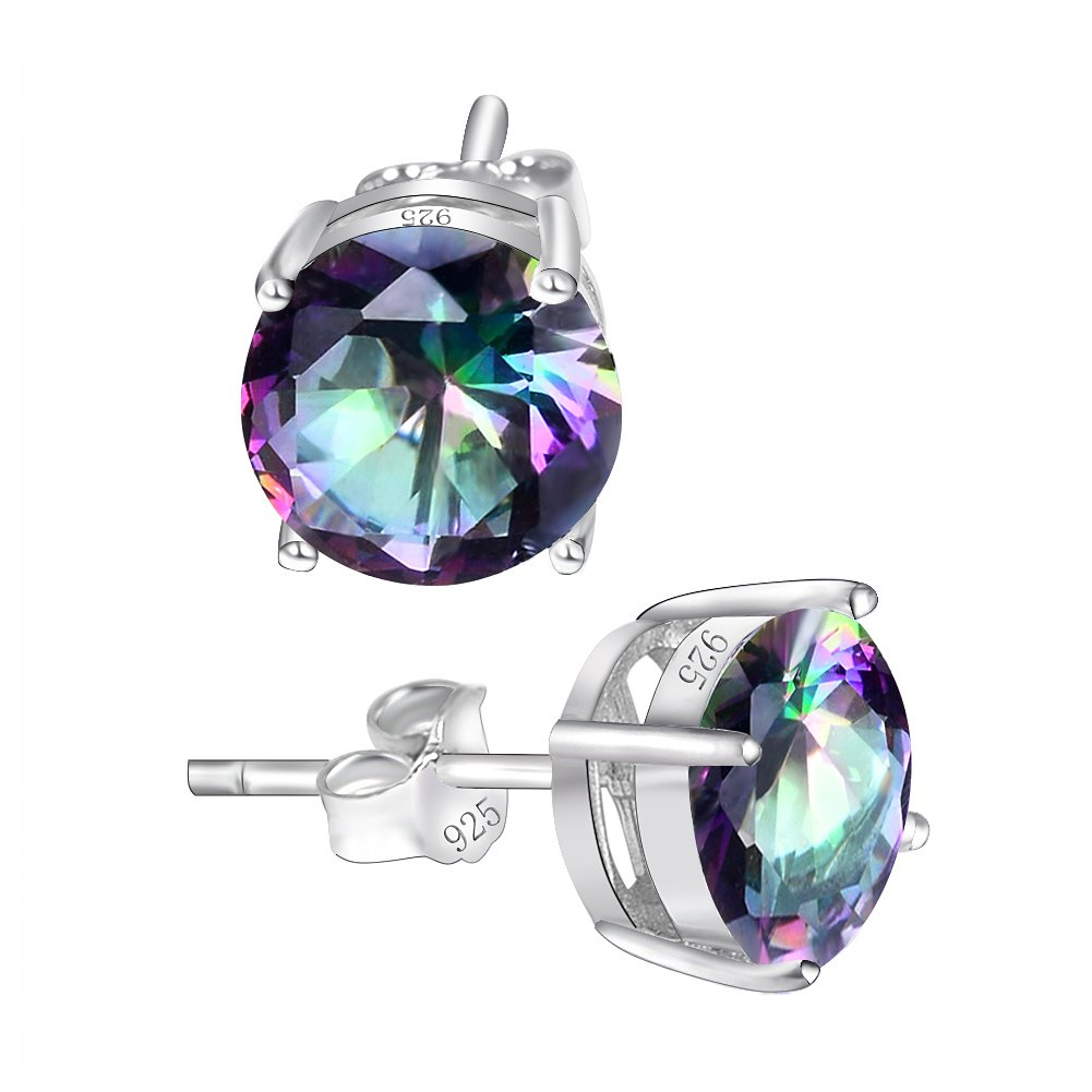 925 Sterling Silver Stud, Seven Colors Stud Earring Can Make You Enjoy The Selection (Multicolor)
