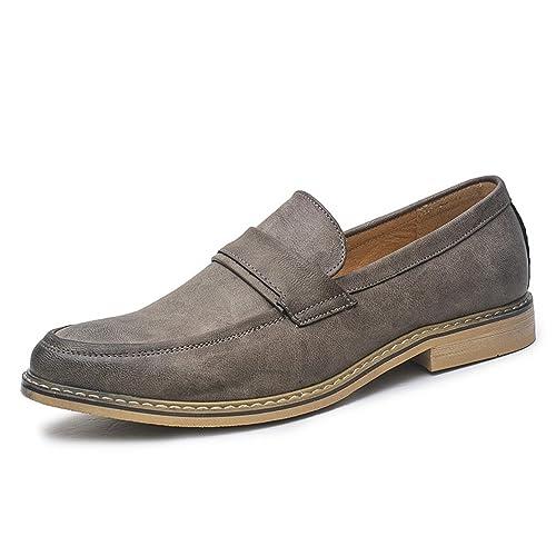 Hombres Vestido Mocasines Negocios Oxfords Zapatos Hechos a Mano Estilo Italiano Hombres Pisos para Fiesta: Amazon.es: Zapatos y complementos