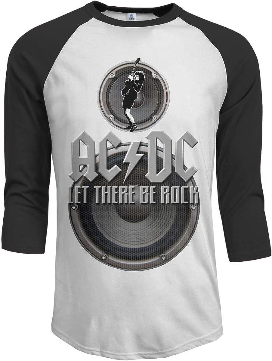 Pimkly Camisetas y Tops, Polos y Camisas Hombres ACDC Let There Be Rock 3/4 Sleeve Raglan Baseball Tshirt Black: Amazon.es: Ropa y accesorios