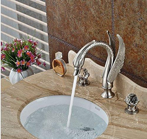 GOWE Brushed Nickel Deck Mount Bathroom Basin Sink Faucet Dual Handle 3 Holes Hot Cold Mixer Taps 0