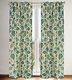 Cheap LJ Home Fashions 535 Irene Jacobean Floral Print Hidden Tab Top Curtain Panels (Set of 2) 54″ W x 88″ L, Linen Beige/Blue/Yellow Ochre