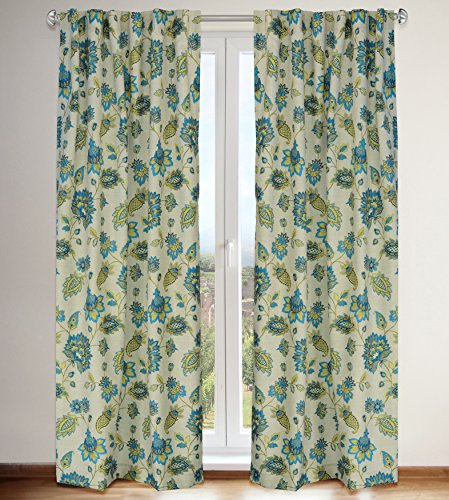 LJ Home Fashions 535 Irene Jacobean Floral Print Hidden Tab Top Curtain Panels (Set of 2) 54