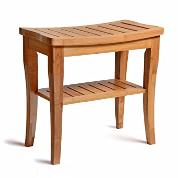 Amazon.com: Bamboo Shower Bench - Storage Shelf - Wooden Bathroom ...
