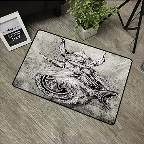 8d4f8dcbba66 Anzhutwelve Tattoo,Kitchen Mat Artistic Pencil Drawing of a Brave Viking  Warrior with Armour Image Adventure W 24
