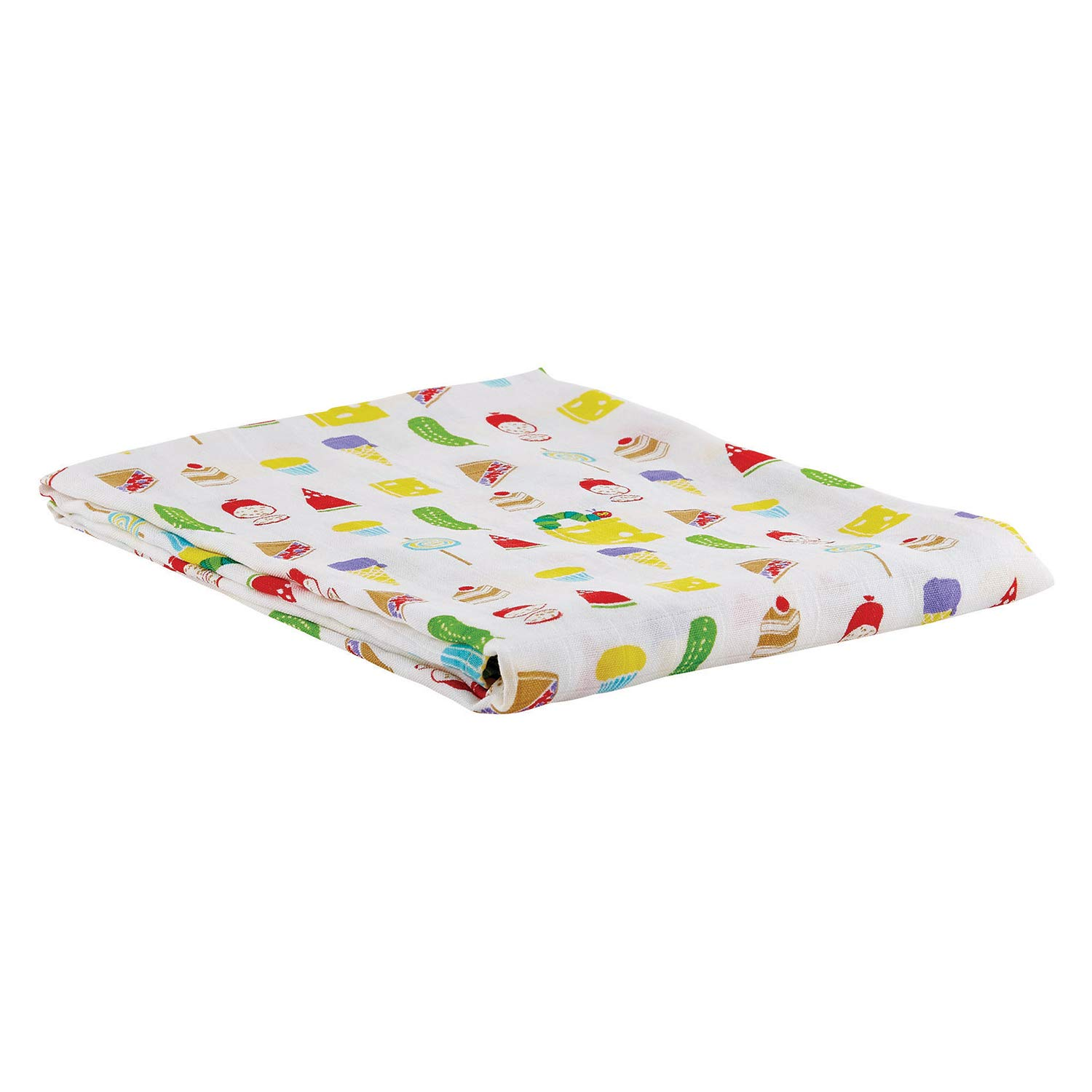 "Stephan Baby Cotton + Viscose Swaddle Blanket, 45"" x 45"", The Very Hungry Caterpillar Junk Food"