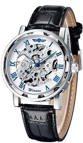 Reloj de pulsera GuTe Classic mecánico y automático, de estilo steampunk, con estructura plateada y engranaje al descubierto, color azul, unisex.