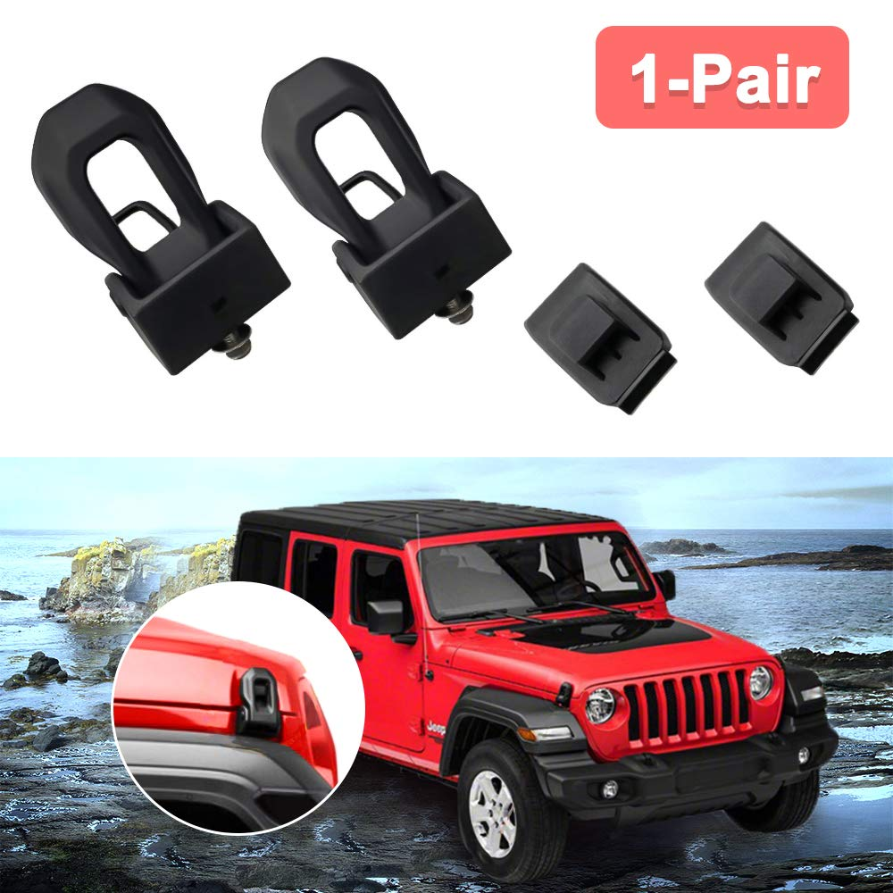 BORDAN 2018 Jeep Wrangler JL Hood Latches Hood Locking Catch Latches Kit for 2007-2018 Jeep Wrangler JK JL