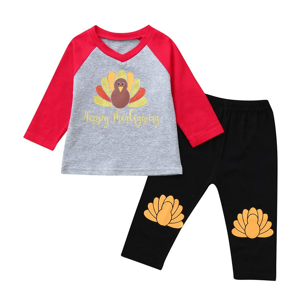 Jchen(TM) Baby Kids Little Boy Girl Letter Turkey Print Tops Long Pants Thanksgiving Day Outfits for 0-5 Y