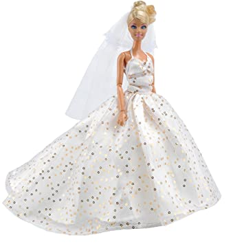 E TING Barbie Fashionista Handmade Clothes 1 Pcs Party Gown Dresses White Sequined Long Tail