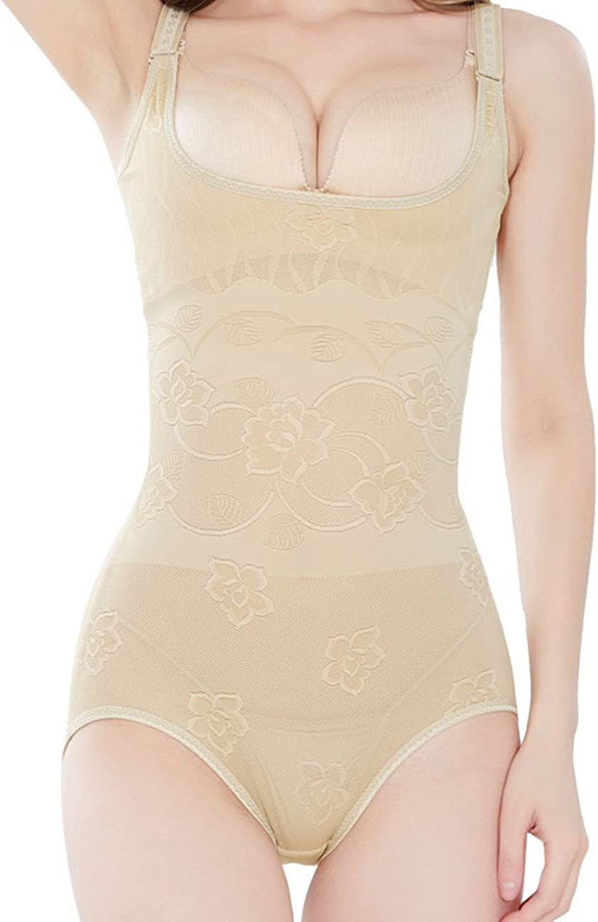 Yiwa Women Body Shaper No Trace One-Piece Tights Suit Soft Breathable Back undress Style Apricot M