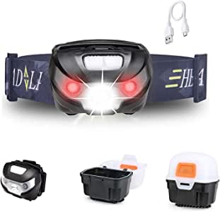 Outdoor Camping Headlights USB Rechargeable LED Headlamp, Multi Modes Super Brightness Head Torch Lighting, Waterproof Head Lights for Night Reading & Climbing, Adventure, USB Cable Included by ERUW