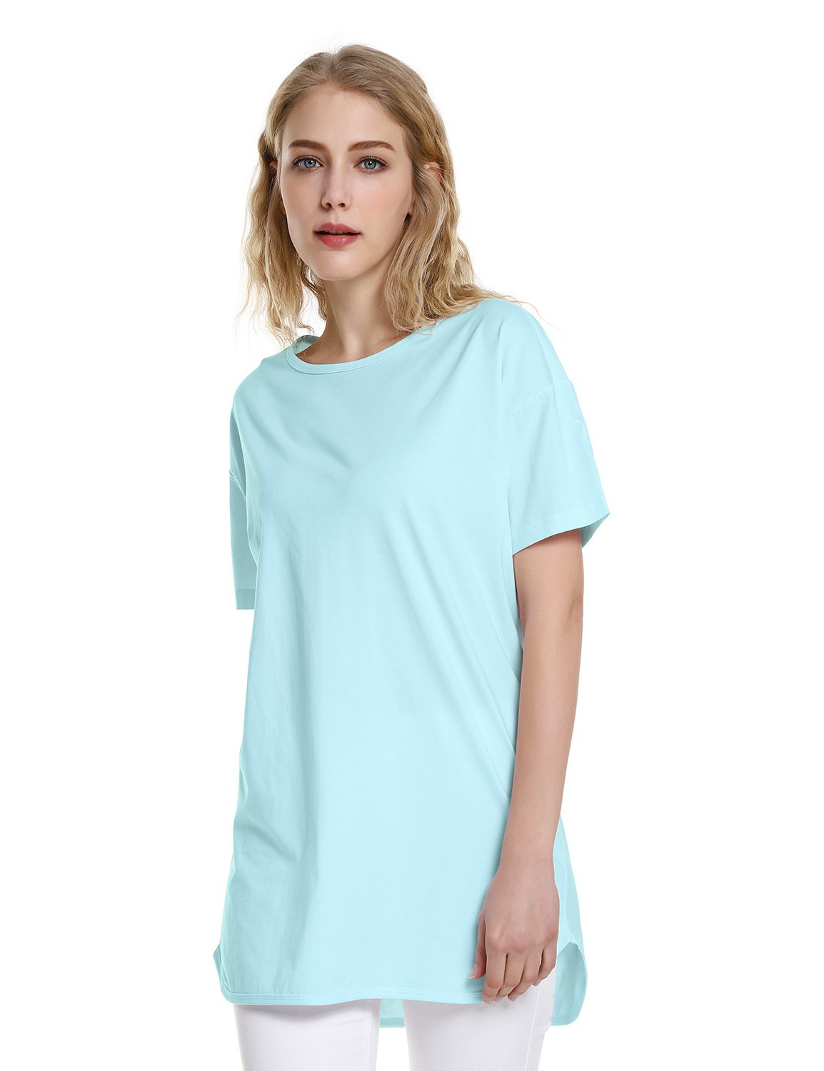 ZAN.STYLE Women's Plus Size Slub Cotton Tunic Tee Shirt Long T Shirt for Leggings Medium Style 2-Light Blue