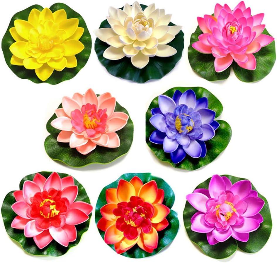 8 Piezas Lirio Agua Artificial Flotante Estanque, a Prueba de Agua Flor Loto para Los Amantes y Los Niños, Se Aplica a San Valentín día de la Boda Acuarios Decoración(8 Color)