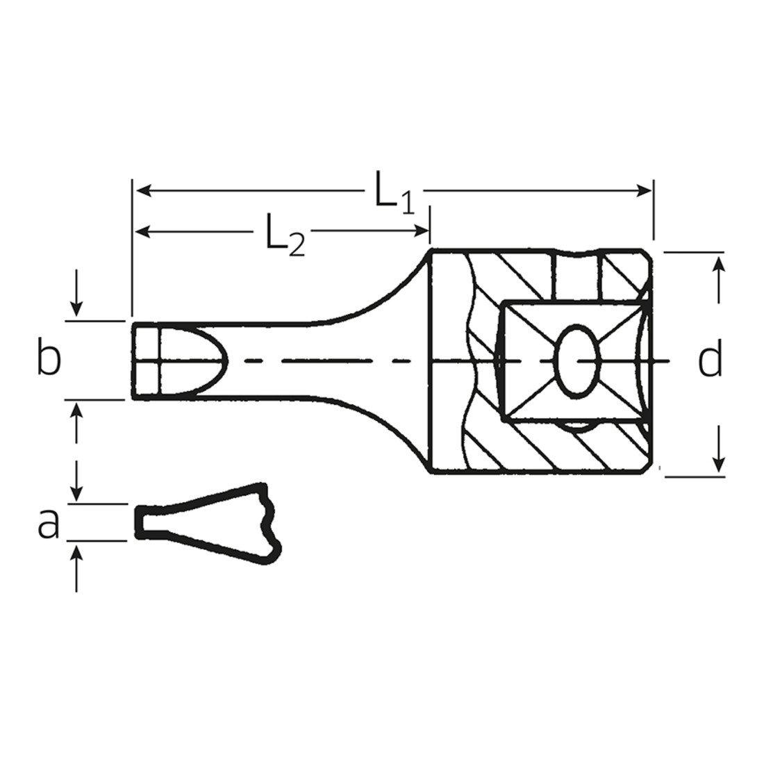 Vaso 1//4 Destornillador Plano Stahlwille 41 K 0.6 X 3.5
