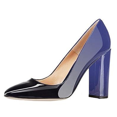 EKS Damen Elegante spitze Zehen-Pumps, Chunky Heels Patent Schuhe High  Heels Blockabsatz Blau 4ff2c1500c