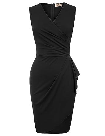 GRACE KARIN Women s Sleeveless V-Neck Cocktail Wrap Bodycon Pencil Dress 8cba50cd6