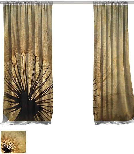 Vanfanhome - Cortina de lino transparente para decorar ventanas grandes, con textura de ladrillo y bandera de