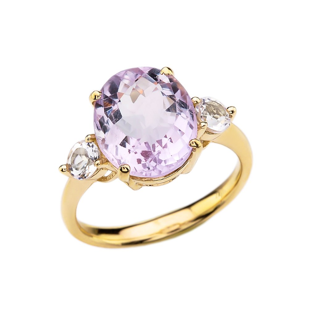 10k Yellow Gold Pink Amethyst Modern Promise Ring With White Topaz Side-stones (Size 9)