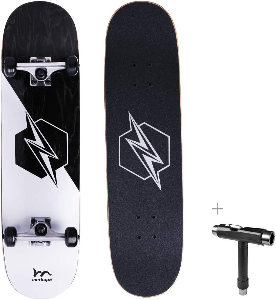 M Merkapa 31 Pro Complete Skateboard 7 Layer Canadian Maple Double Kick Deck Concave Skateboards with Tool