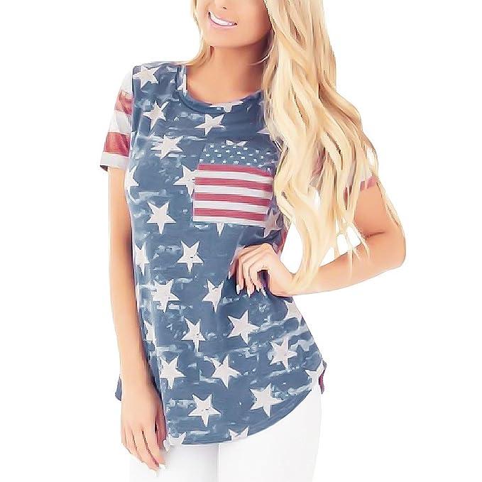 3cd2ef933a0 Amazon.com  Independence Day USA Flag Print Tee Shirt Top Blouse Star Print  Medium  Clothing
