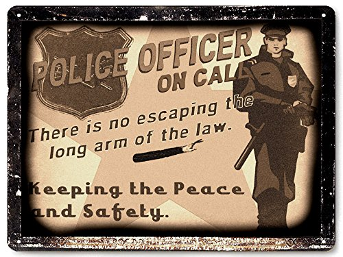 Police metal sign cop law badge / Mancave retro vintage style office Wall Decor - Store Sunglasses Police